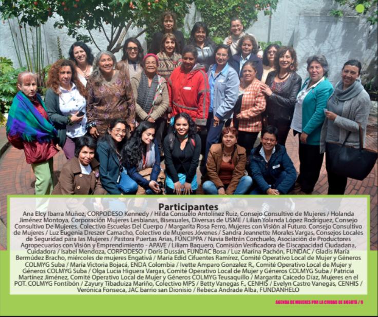 Colombia – Fundación AVP: Agenda de mujeres por la ciudad de Bogotá