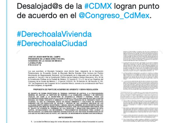 Avalan acuerdo en Congreso de la CDMX para atender violaciones en DDHH por desalojos forzados