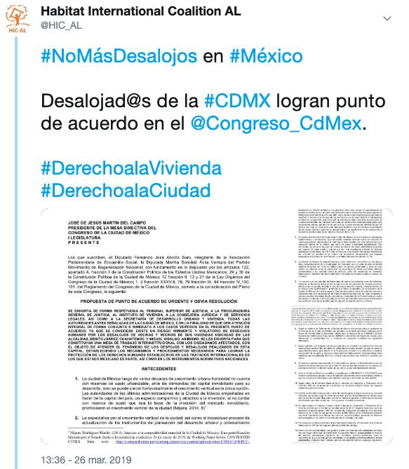 México – Avalan acuerdo en Congreso de la CDMX para atender violaciones en DDHH por desalojos forzados