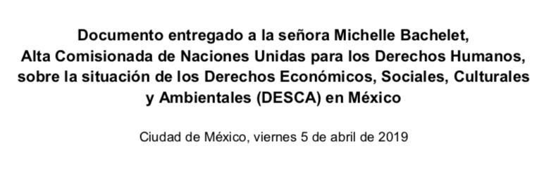 México – Documento entregado a  Michelle Bachelet, Alta Comisionada de la ONU, sobre la situación de los DESCA en México