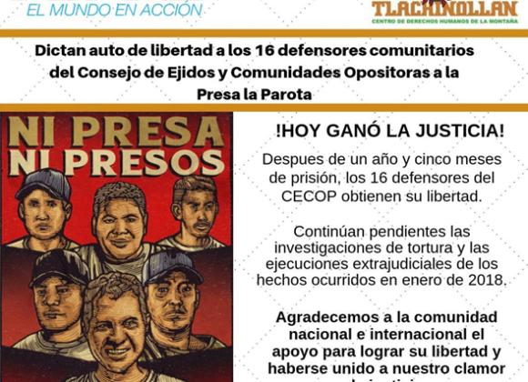 México – Liberan a comunitarios y miembros del Cecop