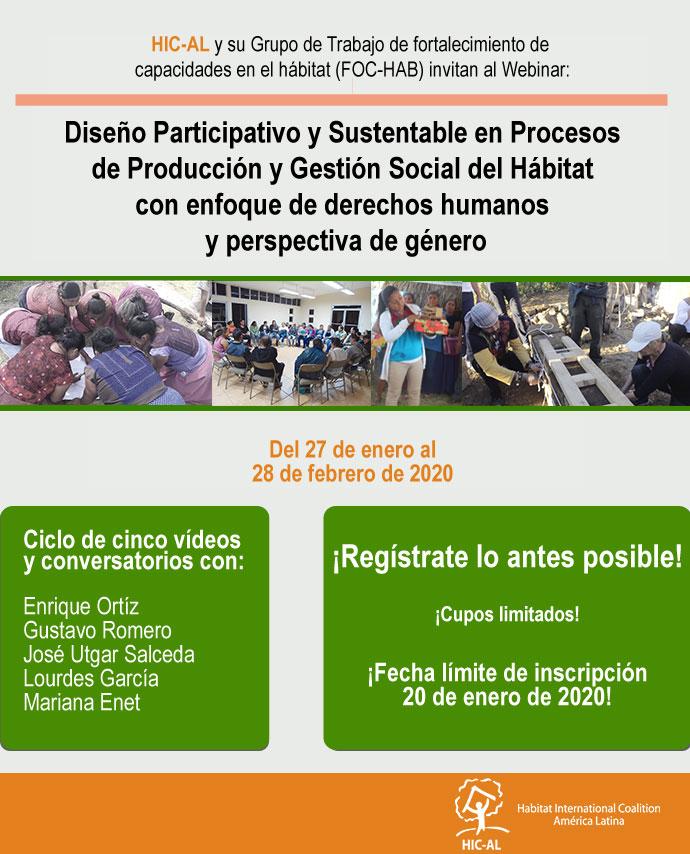 Webinar: Diseño Participativo y Sustentable en Procesos de Producción y Gestión Social del Hábitat con enfoque de derechos humanos y perspectiva de género