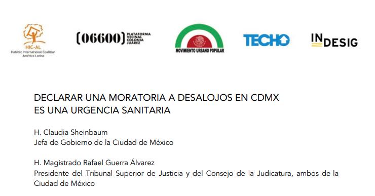 México: Declarar una moratoria a desalojos en CDMX es una urgencia sanitaria