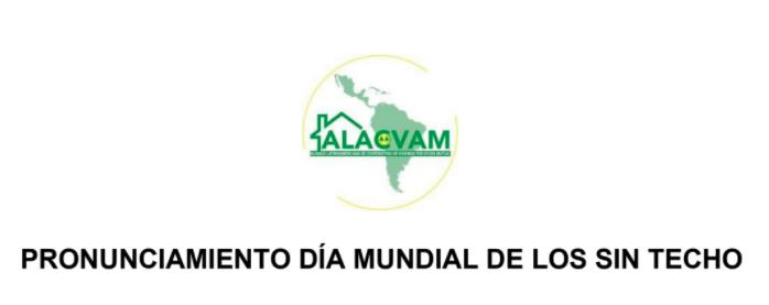 ALACVAM: Pronunciamiento del Día Mundial de lxs Sin Techo